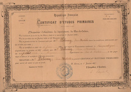 Certificat D'études Primaires Académie De Lille à Arras Le 10 Juillet 1897 - Format : 35x24 Cm - Diploma & School Reports