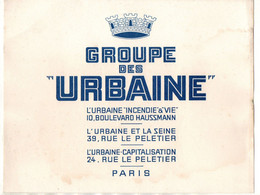 "Menu Groupe Des ""Urbaine"" L'urbaine Incendie & Vie Paris - Format : 27x21cm - Menus"