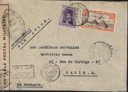 Guerre 40 YT Egypte 192 + Poste Aérienne 18 CAD + Censure Censorship 50 + France Censure Bande Et Cachet UA 9 = Paris - Covers & Documents