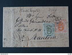 """2406 ITALIA Regno-1891-96- """"Effigie"""" C. 20 + 45 VICENZA>MANTOVA (descrizione) - Marcofilía"""