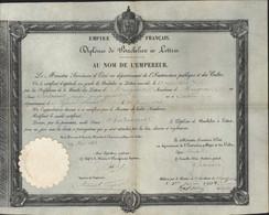 Empire Français Diplôme Bachelier En Lettres 1 6 1863 Sceau Impérial à Sec Autographe Signature Gustave Rouland Ministre - Diploma & School Reports