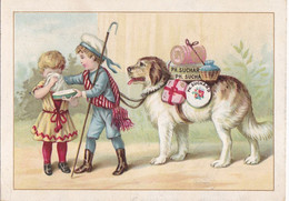 Chromo -publicité Chocolat Suchard - Enfants , Chien Sauveteur , Croix Rouge- - Suchard