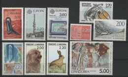ANDORRE FRANCAIS 1988 ANNEE COMPLETE COTE 26.2 € N° 366 à 375 NEUFS ** (MNH). Vendue à 10% De La Cote. TB - Años Completos