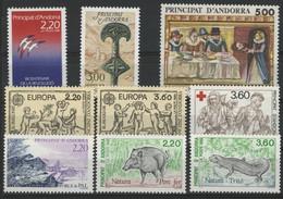 ANDORRE FRANCAIS 1989 ANNEE COMPLETE COTE 24.1 € N° 376 à 384 NEUFS ** (MNH). Vendue à 10% De La Cote. TB - Años Completos