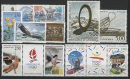 ANDORRE FRANCAIS 1992 ANNEE COMPLETE COTE 40.2 € N° 413 à 424 NEUFS ** (MNH). Vendue à 10% De La Cote. TB - Años Completos
