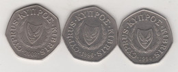 CYPRUS  50 CENTS COINS 1994,1996,2002 - Cyprus