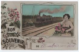 BEAUVOIR SUR NIORT : BON SOUVENIR ET DES FLEURS - MON TRAIN ARRIVE EN GARE DE BEAUVOIR SUR NIORT - AMITIES -z 2 SCANS Z- - Beauvoir Sur Niort