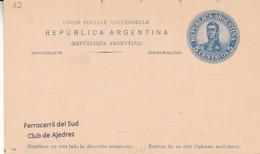 ARGENTINA. FERROCARRIL DEL SUD, CLUB DE AJEDREZ CHESS ECHECS. ENTIER. CARTE POSTALE. NON CIRCULEE.- LILHU - Chess