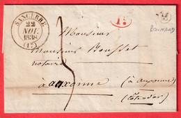 CAD TYPE 13 SANCERRE CHER BOITE RURALE + DECIME RURAL M BONNARD POUR AUXONNE COTE D'OR 1838 - 1801-1848: Vorläufer XIX