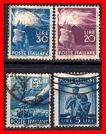 ITALIA 4 SELLOS DE DIFERENTES VALORES DEMOCRACIA  AÑO 1945 - Gebraucht