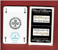 JEU 32 CARTES A JOUER PUBLICITE VIN D ALSACE WOLFBERGER CAVE VINICOLE EGUISHEIM ET DAMBASH LA VILLE FABRICANT HERON - 32 Cards