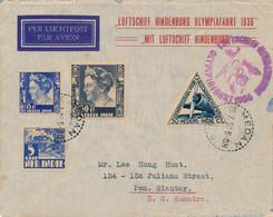 Nederlands Indië - 1936 - 4 Zegels Op Cover Uit Medan Met Zeppelin Hindenburg / Olympiafahrt Via Berlin Naar P. Siantar - Nederlands-Indië