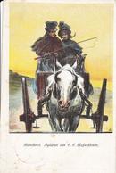 AK Künstlerkarte P.F. Messerschmitt - Heimfahrt - Pferde Droschke - Neujahrskarte - Feldpost Rogasen 1916 (55604) - Altre Illustrazioni