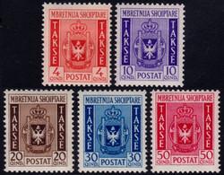 ✔️ Albanien Albania 1940 - Taxe Union With Italy- Mi. 35/39 * MH - €200 - Depart 29.99 - Albania