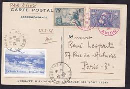 VIGNETTE AVION SUR CP LA BAULE POUR PARIS  23/8/1936 FM313 - Aviation