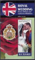 TUVALU  Block 169, Postfrisch **, Hochzeit Von Prinz William Und Catherine Middleton, 2011 - Tuvalu (fr. Elliceinseln)