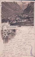 Gruss Aus Göschenen UR, Chemin De Fer Suisse, Tunnel Du Gotthard, Litho Brune (5.2.1912) - Structures