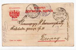 1919. WWI SERBIA,MILITARY POST,SUBOTICA TO BELGRADE,CENSORED - Serbia
