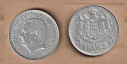 MONACO   5 Francs 1945 Aluminium • 3.7 G • ⌀ 31 Mm KM# 122, - Unclassified