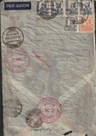 1937-CARTA-Edifil: 819, 824, 828(4). ISABEL CATOLICA. SAN SEBASTIAN A MONTEVIDEO. Censuras Y Llegada - 1931-50 Lettres