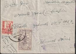 1937-CARTA-Edifil: 823, Sello Local MELILLA. ISABEL CATOLICA.MELILLA A BUENOS AIRES. Censuras Y Llegada - 1931-50 Lettres
