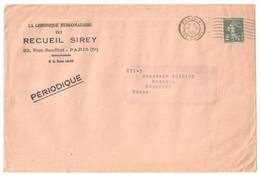 PARIS 91 Rue Cujas Enveloppe Journal PERIODIQUE Hebdomadaire SIREY 2c Semeuse Vert Foncé Yv 278 Ob 26 6 1937 - 1906-38 Semeuse Camée