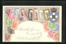 Präge-AK Briefmarken Aus Griechenland, Wappen - Stamps (pictures)