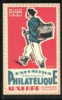 Künstler-AK Exposition Règionale Philatelique Auxerre Au Marchè Couvert (10.- 12. Octobre 1931), Briefträger - Stamps (pictures)