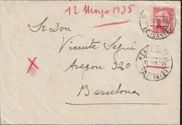 1933-CARTA-Edifil. 686. PERSONAJES. BENIMATEL A BARCELONA. Matasello BENIMATEL / ALICANTE  Y Llegada - 1931-50 Lettres