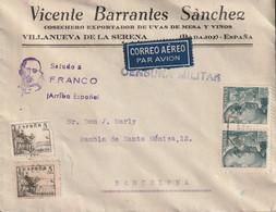 """1939-CARTA-Edifil. 870(2). G. FRANCO SANCHEZ-TODA. VILLANUEVA DE LA SERENA A BARCELONA. Censura Y """"SALUDO A FRANCO"""" - 1931-50 Lettres"""