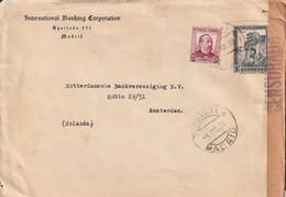 1938-CARTA-Edifil. 673, 685. PERSONAJES Y MONUMENTOS. MADRID A AMSTERDAM. Censura - 1931-50 Lettres
