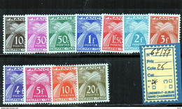 TAXE LUXE** 67/77 - 1859-1955 Mint/hinged
