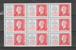 FRANCE / 1994 / Y&T N° 2863 ** : Journée Du Timbre Marianne De Dulac Avec Surtaxe (de Feuille - Gomme Mate) X 9 En Bloc - Unused Stamps