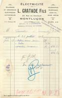 FACTURE GRATADE FILS ELECTRICITE MONTLUCON 07/1928 - 1900 – 1949