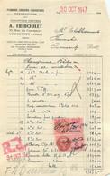 FACTURE TRIBOULET PLOMBERIE ZINGUERIE  COMMENTRY 10/1947 - 1900 – 1949