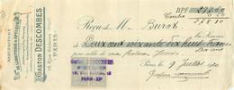 LETTRE DE CHANGE GASTON DESCOMBES MANUFACTURE DE LUNETTERIE ET OPTIQUE 15 RUE SEDAINE PARIS  07/1920 - 1900 – 1949