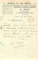 FACTURE D. PETIT APPAREILS DE L'ART MEDICAL LE MAYET DE MONTAGNE - 1900 – 1949