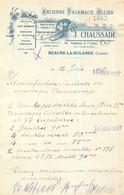 FACTURE J. CHAUSSADE PHARMACIEN BEAUNE LA ROLANDE 06/1937 - 1900 – 1949