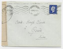 DULAC 4FR SEUL LETTRE THONON LES BAINS 6.VII.1945 HTE SAVOIE POUR GENEVE + CENSURE TARIF FRONTALIER 2EME - 1944-45 Marianna Di Dulac
