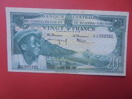 CONGO BELGE RUANDA-URUNDI 20 FRANCS 1959 Circuler (B.22) - Belgian Congo Bank