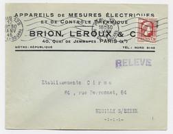 MARIANNE ALGER N°638 SEUL LETTRE PARIS 125 12 JANV 1945 + GRIFFE RELEVE TARIF FACTURE PEU COMMUN - 1944 Gallo E Marianna Di Algeri