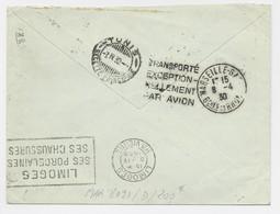 EN TRANSIT DAGUIN TRANSPORTE EXCEPTIONNELLEMENT PAR AVION MARSEILLE GARE 8.4.1930 LETTRE LIMOGES POUR TUNISIE RARE - Mechanical Postmarks (Advertisement)