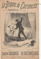 (AVRIL) Illustrateur E BUVAL , Le Drame De Corancez ,  DAMBREVILLE , Paroles LUCIEN COLONGE , Musique ED. DECONCLOIS - Partitions Musicales Anciennes