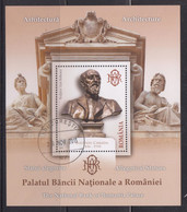 ROMANIA 2013: SCULPTURES, NATIONAL BANK, Used Souvenir Block - Registered Shipping! Envoi Enregistre! - Usado