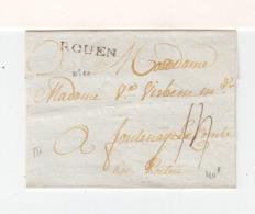 Sur Partie De Lettre Pour Fontenay Le Comte Marque Linéaire Rouen. Taxe à La Plume 13. (3299) - 1701-1800: Precursors XVIII
