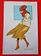 Jeune Patineuse Dans Le Vent -  C. CALDERARA  Illustrateur - Andere Illustrators