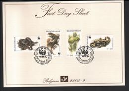 WWF BELGIQUE 2000 / FDS / AMPHIBIES ET REPTILES MENACES / COB 2896 A 2899 - Storia Postale