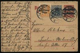 S1808 DR Infla GS Antwort Postkarte , Gebraucht Wurzen - Berlin 1921 , Bedarfserhaltung. - Covers & Documents