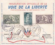 Inauguration Officielle De La Voie De La Liberté - Timbres PR 81/2 - 18/09/1947 - Private & Local Mails