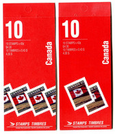 RC 20962 CANADA FLAG 2 COUVERTURES DIFFERENTES CARNETS COMPLETS BOOKLETS MNH NEUF ** - Full Booklets